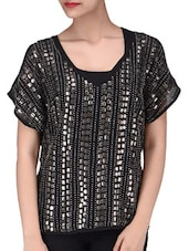 Black Poly Georgette Sequined Top - By