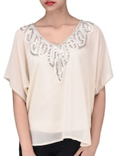 Cream Poly Georgette Sequined Top - By