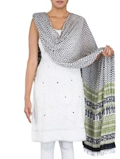 Polka Dot Printed White Cotton Dupatta - By