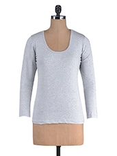 Grey Cotton Lycra Full Sleeves Top - By