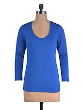 Royal Blue Cotton Lycra Full Sleeves Top - By