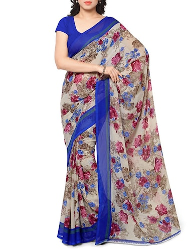 6daa635001647 Buy Cream Georgette Saree With Blouse for Women from Rajnandini for ...