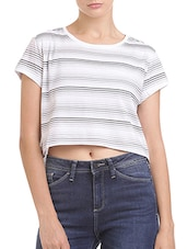 white striped cotton tee -  online shopping for Tees