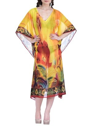 yellow polyester kaftan