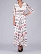 Off White Printed Poly Georgette Dress - By