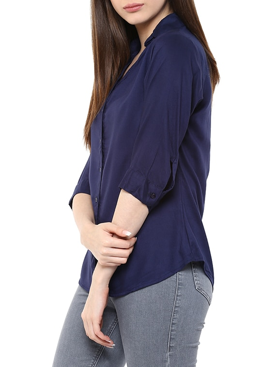 Buy navy blue rayon regular shirt by mayra online for Navy blue shirt online
