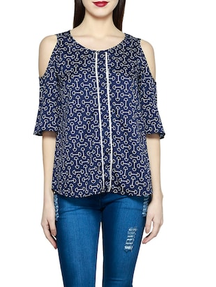 blue printed regular top