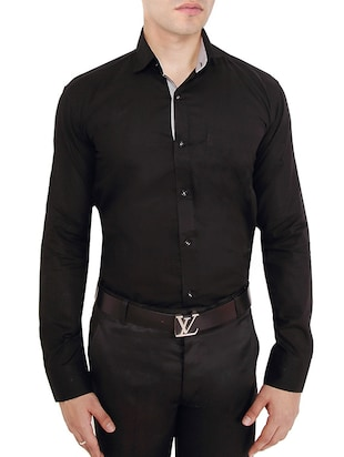 solid black cotton formal shirt