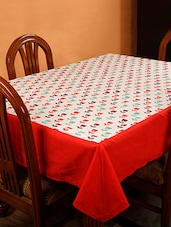 Dekor World Floral Printed Red Table Cover (Pack Of 1) - By