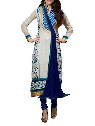 White Chanderi  unstitched salwar suit