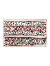 IMithila Clutch With Traditional Mithila Free Hand Floral Sketch Art And Fishes  For Women And Girls - By