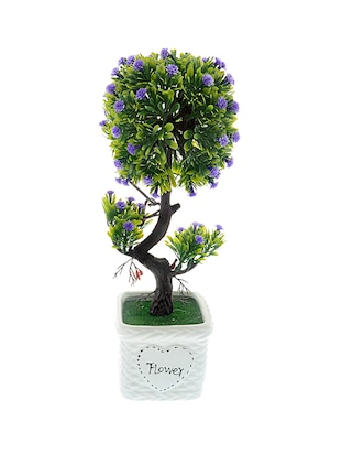 The Ethnic Wears Handcrafted Blue Artificial Flowers With Ceramic Vase