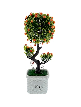 The Ethnic Wears Handcrafted Orange Artificial Flowers With Ceramic Vase