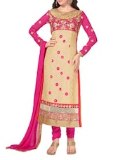 Beige Embroidered Georgette Unstitched Suit Set - By