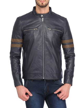 navy blue faux leather biker jacket