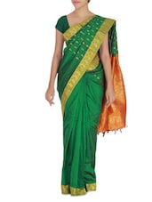 Green And Orange Art Silk Saree - By