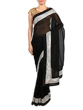 Black Georgette Saree With Silver Border - By