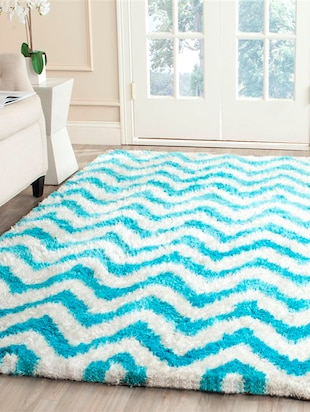 Presto Bazaar Blue and White Chevron Polyester  Carpet