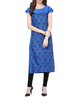 blue rayon block printed long kurta