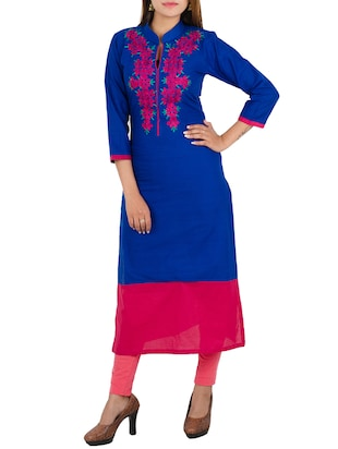 blue cotton embroidered kurta