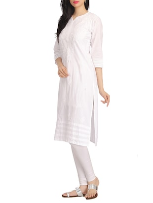 White chikankari embroidered cotton kurta - 12788690 - Standard Image - 2