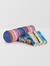 Set Of 7 Multicolored Striped Cotton Towels - By