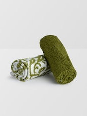 Set Of 2 Green Cotton Hand Towels - By