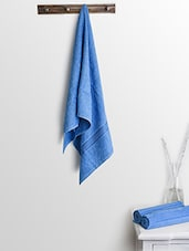 Blue Cotton Plain Set  Of Bath Towels And Hand Towels - By