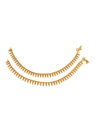 gold metal anklets and payal - 12794591 - Standard Image - 2