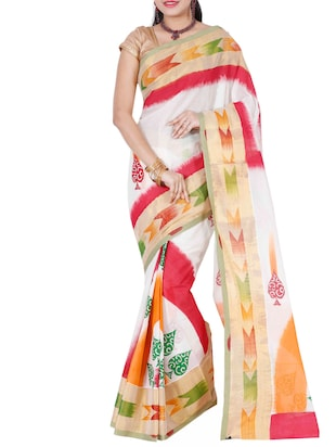 Cream Kerala Kasavu Cotton Saree
