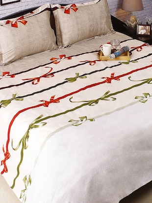 Beige Cotton Double Bedsheet with Wrap Print