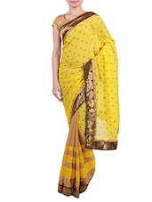 Yellow Embroidered Faux Georgette Chiffon Saree - By