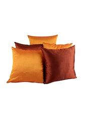 Rajrang Cushions & Pillows Reversible Solid Designs Cushions Zip Closer Polydupion Set Of 5 Sofa Cushion Covers - By