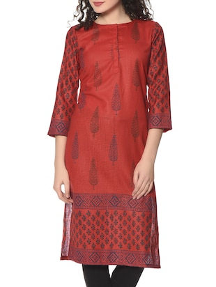 Red hand block print cotton kurta