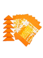 Dekor World Abstract Orange Cotton Printed Place Mat W/Napkin (Pack Of 12) - By