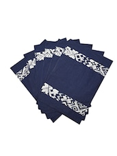 Dekor World Abstract Blue Cotton Printed Place Mat (Pack Of 6) - By