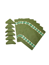 Dekor World Owl Green Cotton Printed Place Mat W/Napkin (Pack Of 12) - By