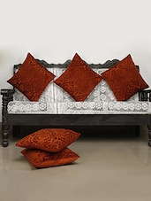 Dekor World Velvet Touch Brown Cushion Cover (Pack Of 5) - By