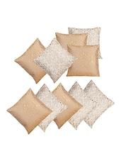 Dekor World Golden Printed Combo. Cushion Cover (Pack Of 10) - By