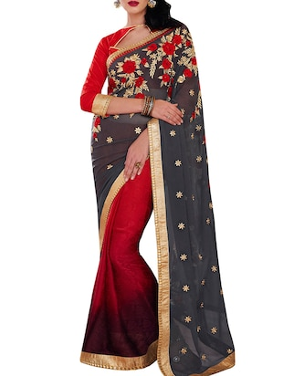 grey color half and half saree