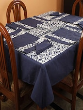 Dekor World Ikat Printed Blue Table Cover With Place Mat & Napkin (Pack Of 25) - By