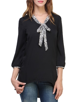 black crepe high low tunic