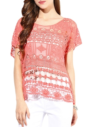 Coral Cotton Embroidered Sheer Top