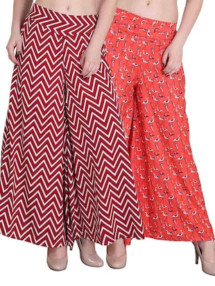 set of 2 multicolored printed crepe palazzos