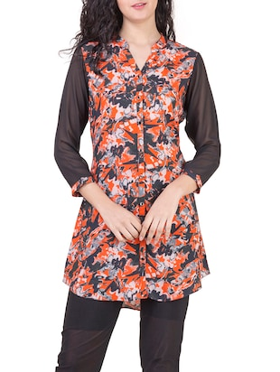 Multicolor cotton blend straight kurti