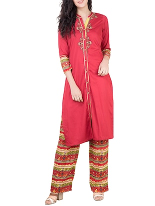red rayon straight suit