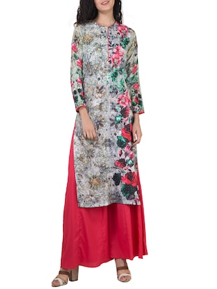 multicoloured palazzo stitched suit