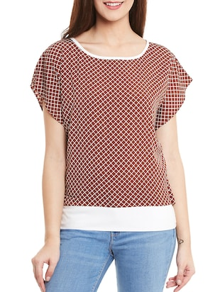 brown checkered crepe regular top
