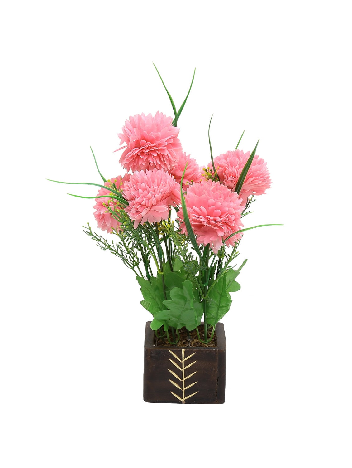 Buy Random Artificial Potted Plant With Round Pink Flowers By Random