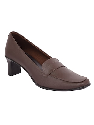 brown pu slip on pumps